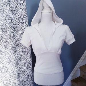 Tops - White Short Sleeve Crop Top Hoodie